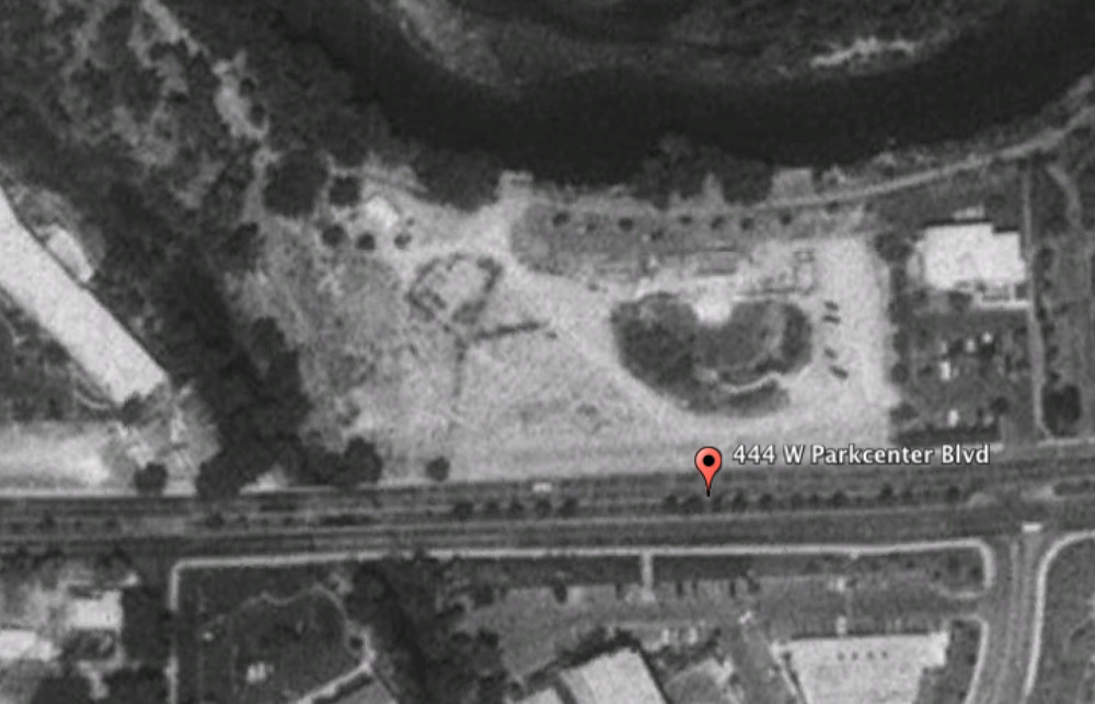 Google Earth historical imagery of the former Idaho Shakespeare amphitheater on ParkCenter