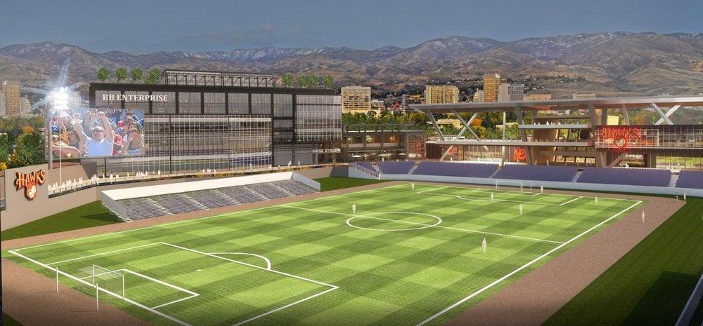 Soccer configuration for soccer stadium at Americana & Shorline