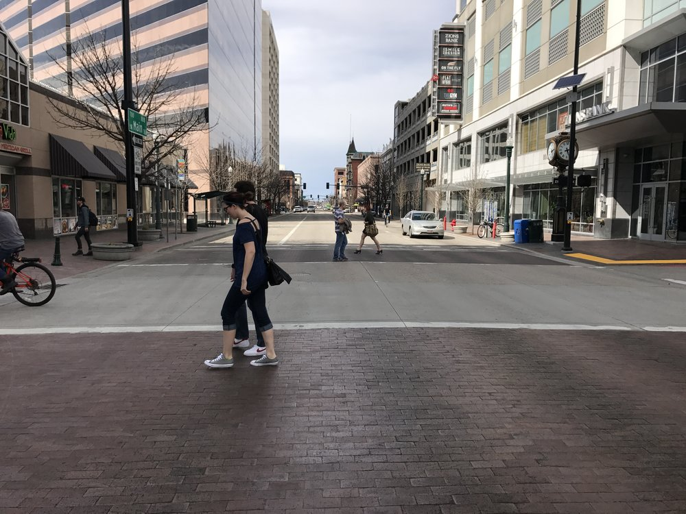 Pedestrians in the 8th & Main crossing in Boise. Don Day/BoiseDev.com