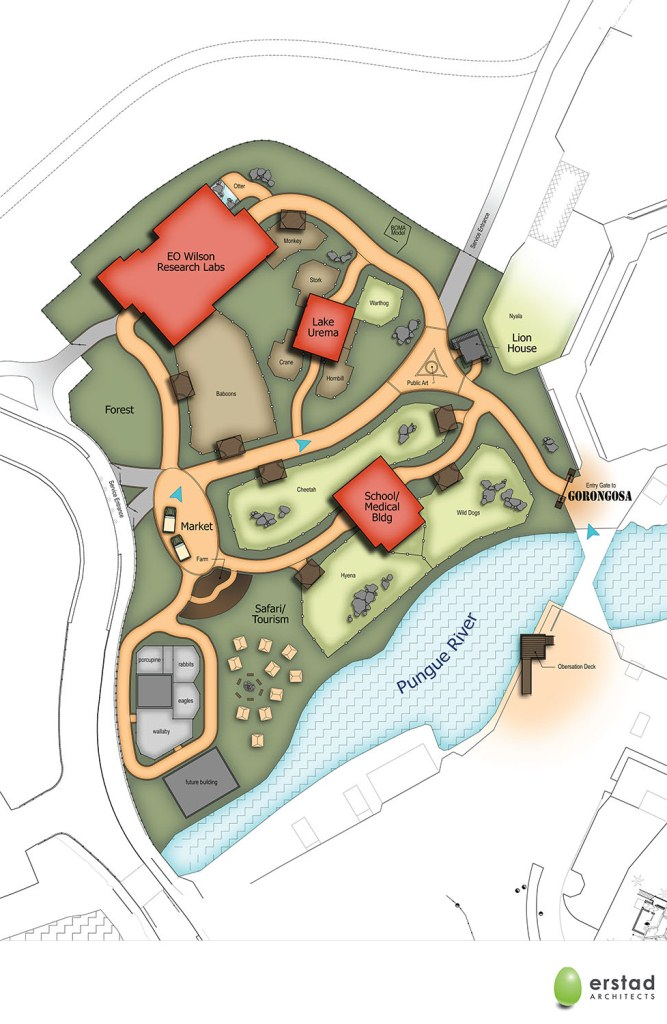 Site plan of the new Gorongosa area of the zoo. Click to enlarge.