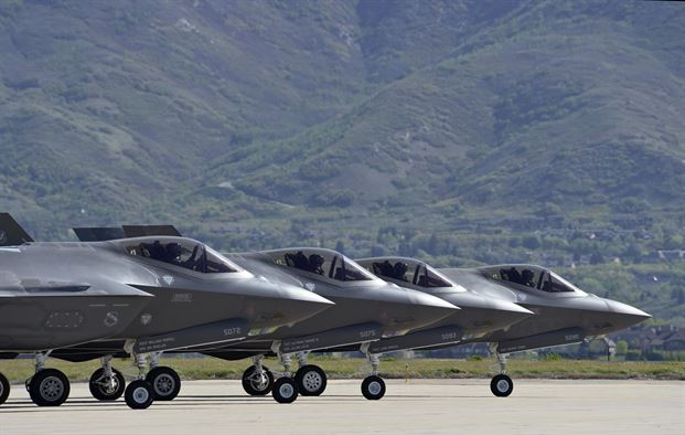 F-35s lined up on the tarmac at Hill AFB near Ogden, Utah. USAF photo.