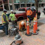 Downtown newspaper box construction