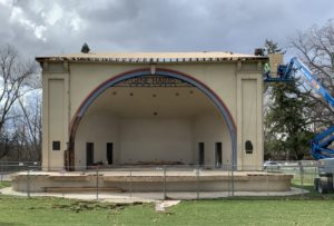 Two years after fire, work progresses on upgraded Gene Harris Bandshell