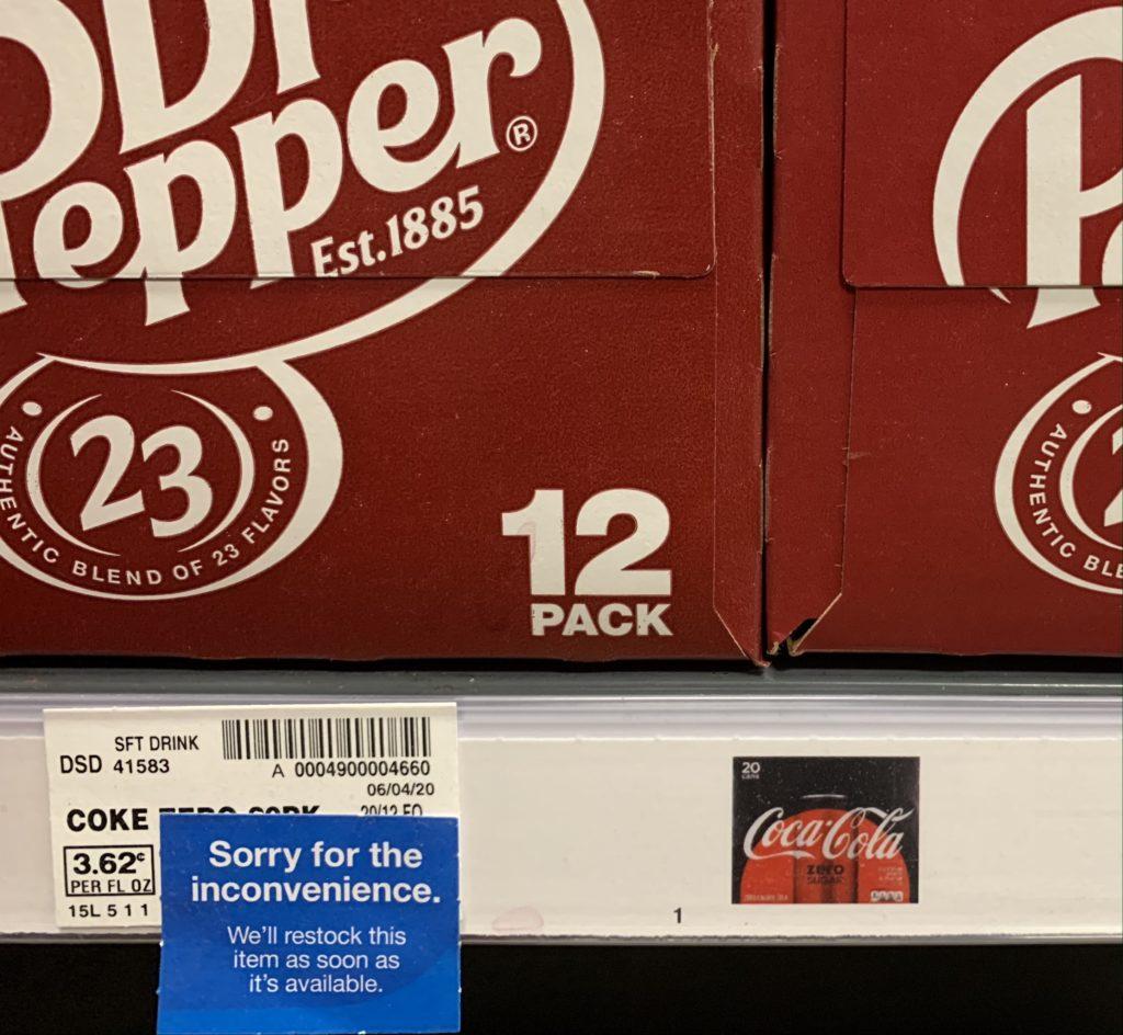 Coke Zero Sugar Boise out of stock