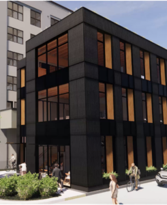 Three-story office building proposed to slide in between apartments, alley in Downtown Boise