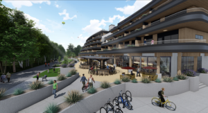 Work begins on river-front apartments, restaurant, retail, and future hotel along Boise River