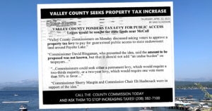A postcard sent around Valley Co. suggests tax increases are coming. Officials say it's not true